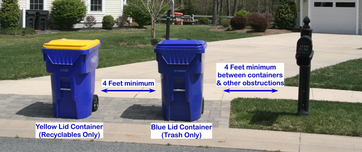 How to place your trash and recycling bins for pickup