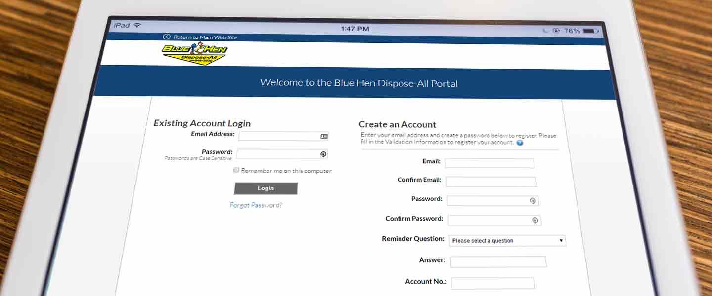 Visit Blue Hen Dispose-All Web Portal to Make Payments and Review Service